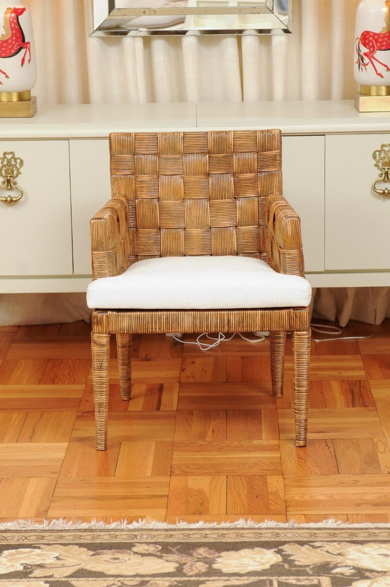 This magnificent unique set of dining chairs is shipped as professionally photographed and described in the listing narrative: Meticulously professionally restored, newly upholstered and completely installation ready. Expert custom upholstery