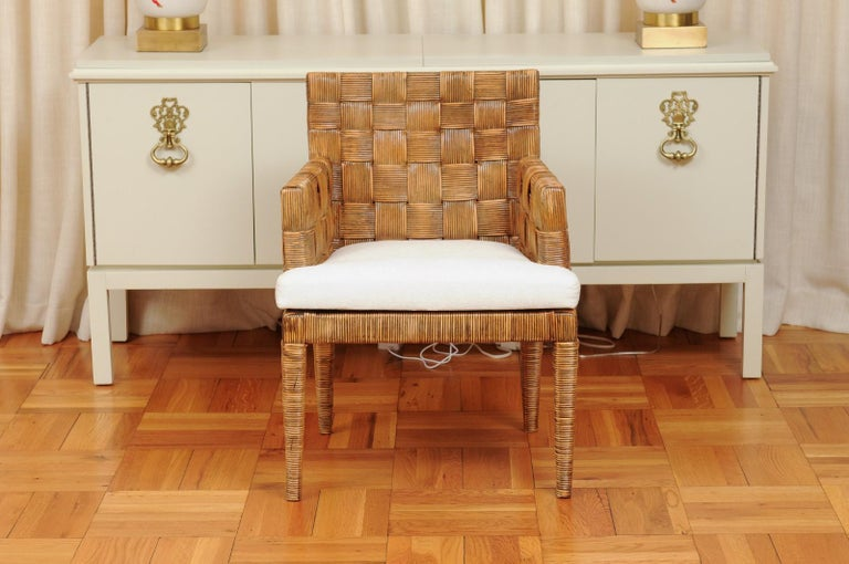 Unknown Stellar Set of 8 Block Island Arm Dining Chairs by John Hutton for Donghia For Sale