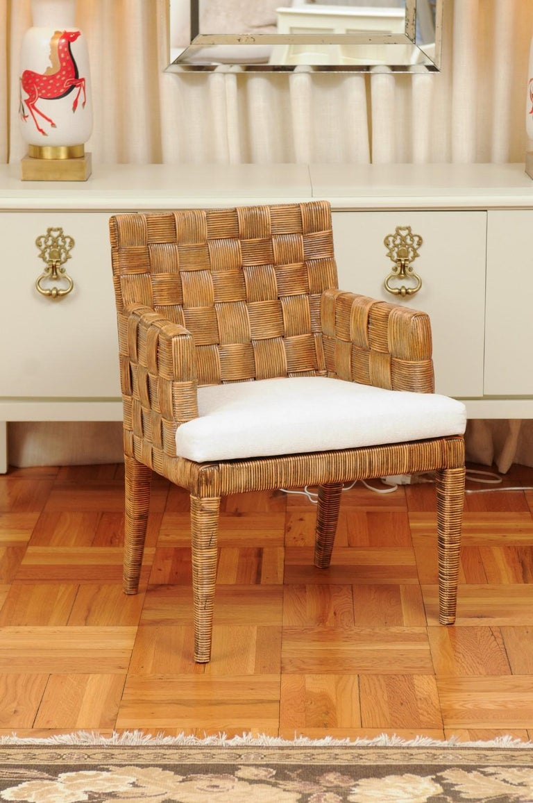 Stellar Set of 8 Block Island Arm Dining Chairs by John Hutton for Donghia In Excellent Condition For Sale In Atlanta, GA