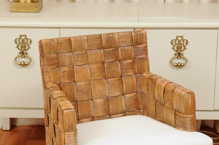 Late 20th Century Stellar Set of 8 Block Island Arm Dining Chairs by John Hutton for Donghia For Sale
