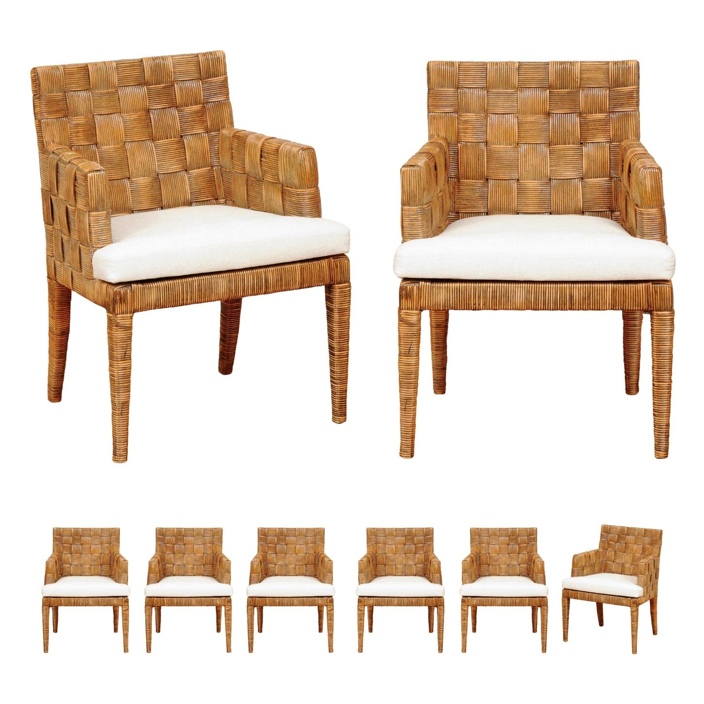 Stellar Set of 8 Block Island Arm Dining Chairs by John Hutton for Donghia