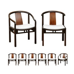 Stellar Set of 8 Walnut Dining Chairs by Michael Taylor for Baker, circa 1955