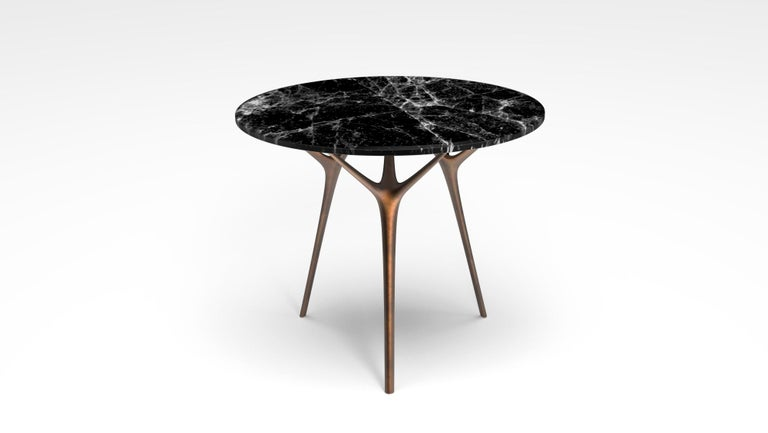Stellarnova Cafe Table, Cast Bronze Legs with Marble Top For Sale 3