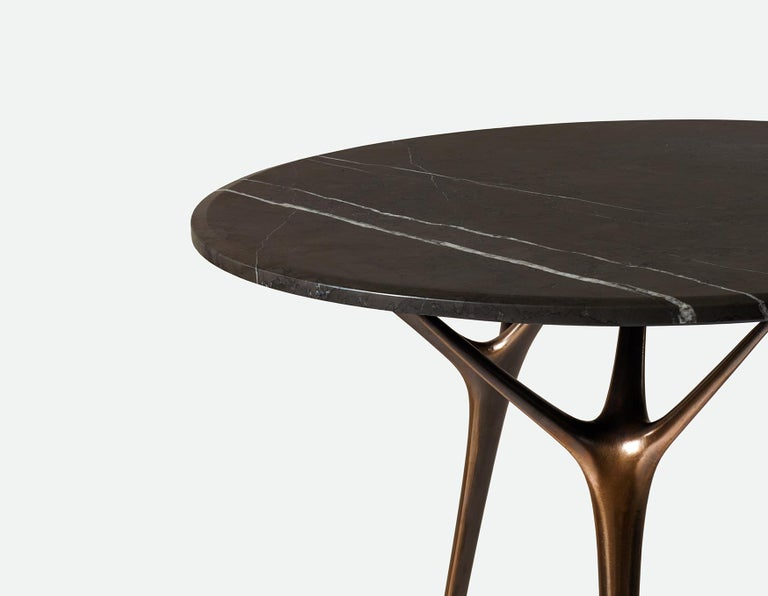 Contemporary Stellarnova Cafe Table, Cast Bronze Legs with Marble Top For Sale