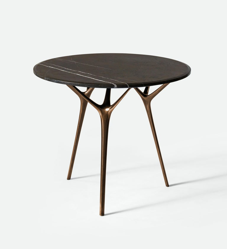 Minimalist Stellarnova Cafe Table, Cast Bronze Legs with Marble Top For Sale