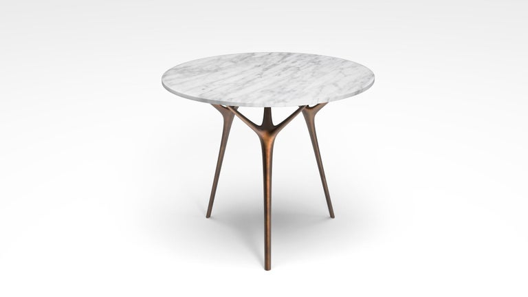 British Stellarnova Cafe Table, Cast Bronze Legs with Marble Top For Sale