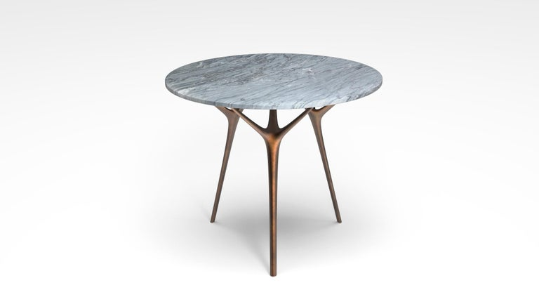 Patinated Stellarnova Cafe Table, Cast Bronze Legs with Marble Top For Sale