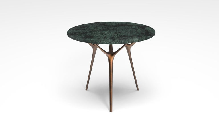 Stellarnova Cafe Table, Cast Bronze Legs with Marble Top For Sale 1