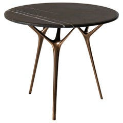 Stellarnova Cafe Table, Cast Bronze Legs with Marble Top