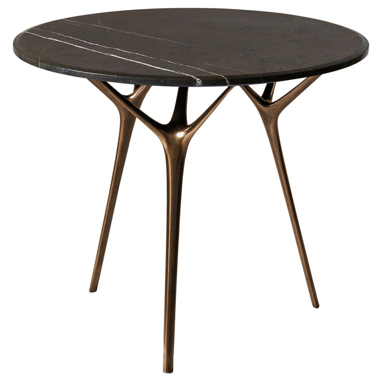Stellarnova Cafe Table, Cast Bronze Legs with Marble Top For Sale
