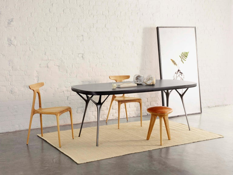 Minimalist Stellarnova Desk or Dining Table, Cast Bronze Legs with Bamboo Ply Top For Sale
