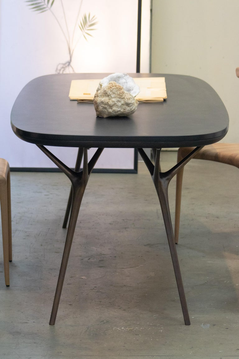 Patinated Stellarnova Desk or Dining Table, Cast Bronze Legs with Bamboo Ply Top For Sale