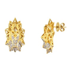 Stellated 18 Karat Gold and Diamond Stud Earrings