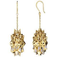 Stellated Diamond Gold Dangle Earrings