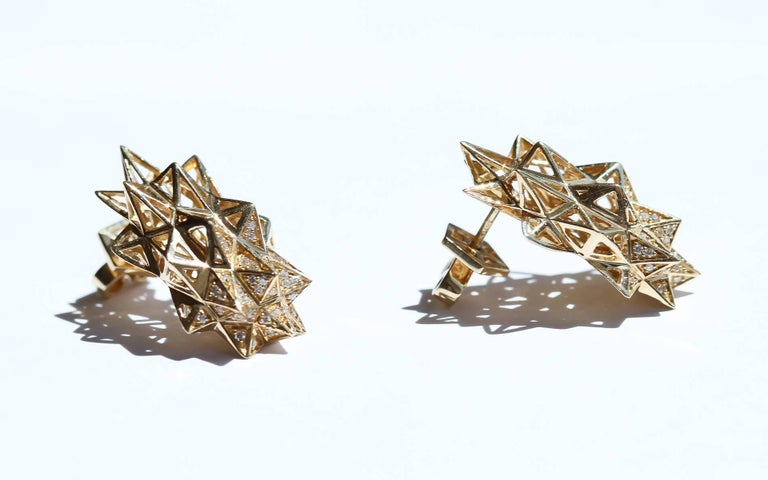 Women's Stellated Gold and Diamond Stud Earrings For Sale