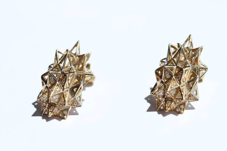 Stellated Gold and Diamond Stud Earrings For Sale 1