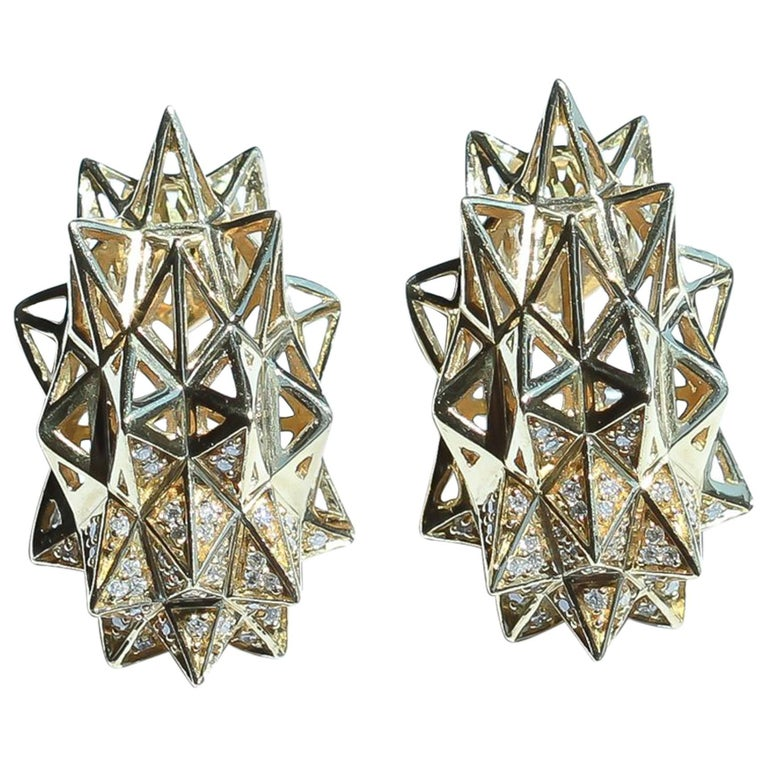 Stellated Gold and Diamond Stud Earrings For Sale