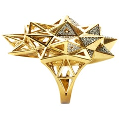 Stellated Star Diamond and 18K Gold Ring
