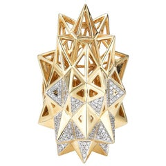 Stellated Star Diamond Gold Ring