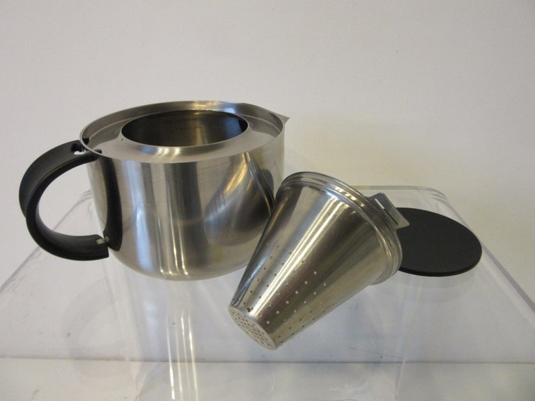 20th Century Stelton Pitcher / Tea Pot / Sugar Bowl / Tray 4 Pieces, Set Denmark