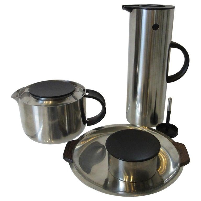 Stelton Pitcher / Tea Pot / Sugar Bowl / Tray 4 Pieces, Set Denmark