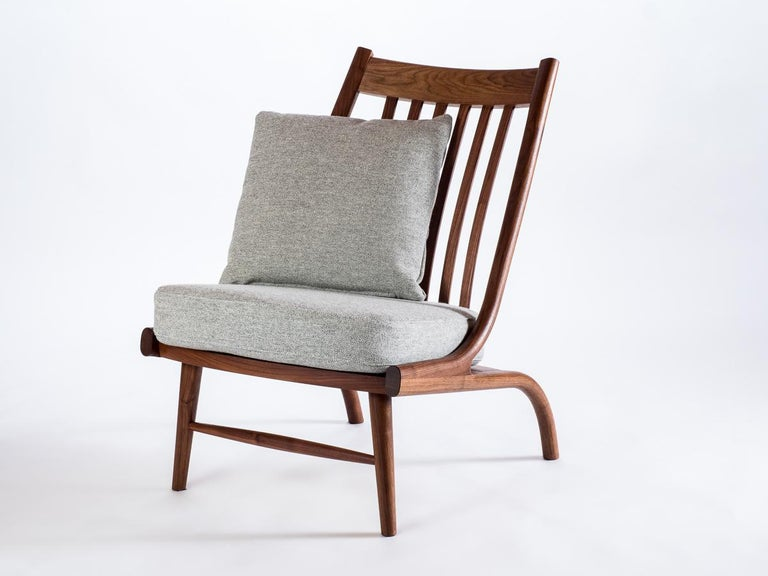 Hand-Crafted Stem Lounge, Midcentury Inspired Custom Made in White Oak by Lutz Furniture For Sale