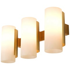 Sten Carlquis Swedish Wall Light in Brass and Wood