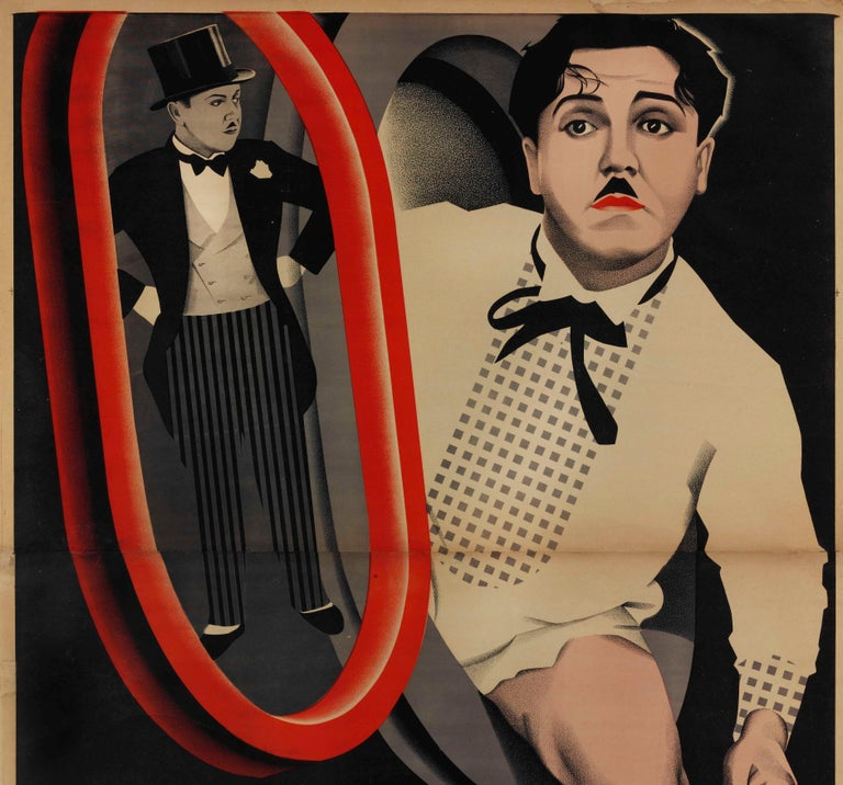 Rare two sheet original vintage movie poster designed by the Stenberg Brothers (Vladimir 1899-1982; Georgii 1900-1933) for a comedy film A Perfect Gentleman starring Monty Banks. Striking Soviet Constructivist design primarily in shades of black and