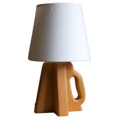 Steneby, Table Lamp, Beech, Silk, Sweden, 1950s