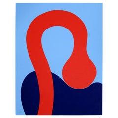 Stenpel Red & Blue Abstract Modern Unframed Serigraph