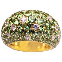 Stenzhorn 18 Karat Gold Dome Ring with 8.20 Carat Tsavorites and .90Ct. Diamonds
