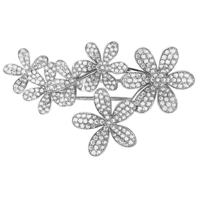 Stenzhorn 18 Karat White Gold Brooch with Six 3.20 Carat Diamond Flowers For Sale