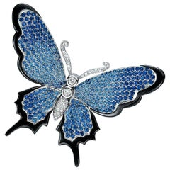 Stenzhorn 18kt Gold, Blue Sapphire and Diamond Butterfly Brooch with Black Onyx