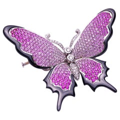 Stenzhorn 18KT WG, Black Onyx, 10.30Ct.Pink Sapphire & Diamond Butterfly Brooch
