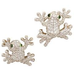 Stenzhorn for Cellini 18 Karat White Gold, 2.30 Carat Diamond Frog Earrings