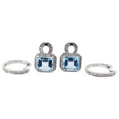 Step Cut Baby Blue Aquamarine and Diamond Drop Earrings, Also Hoop Earrings