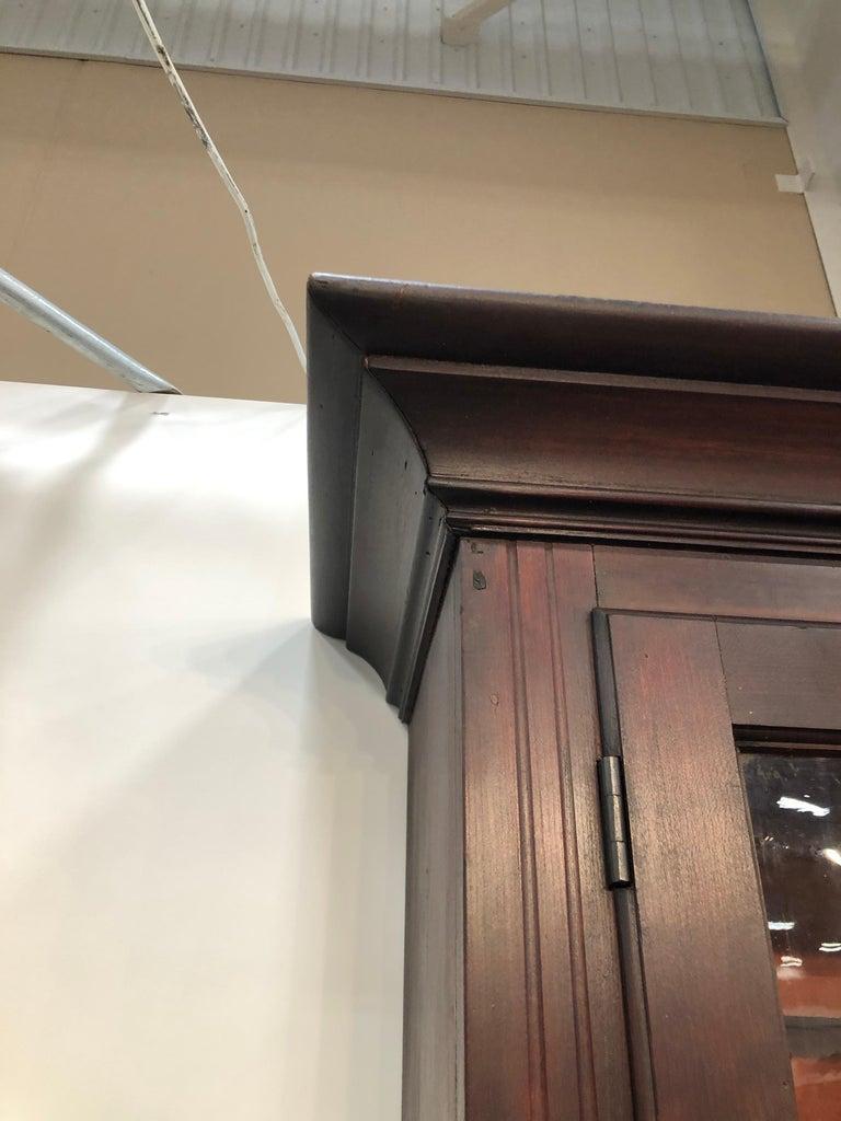 Early 19th Century Stepback Two Piece Gl Door Flat Wall Cupboard Cherry Circa 1810 American