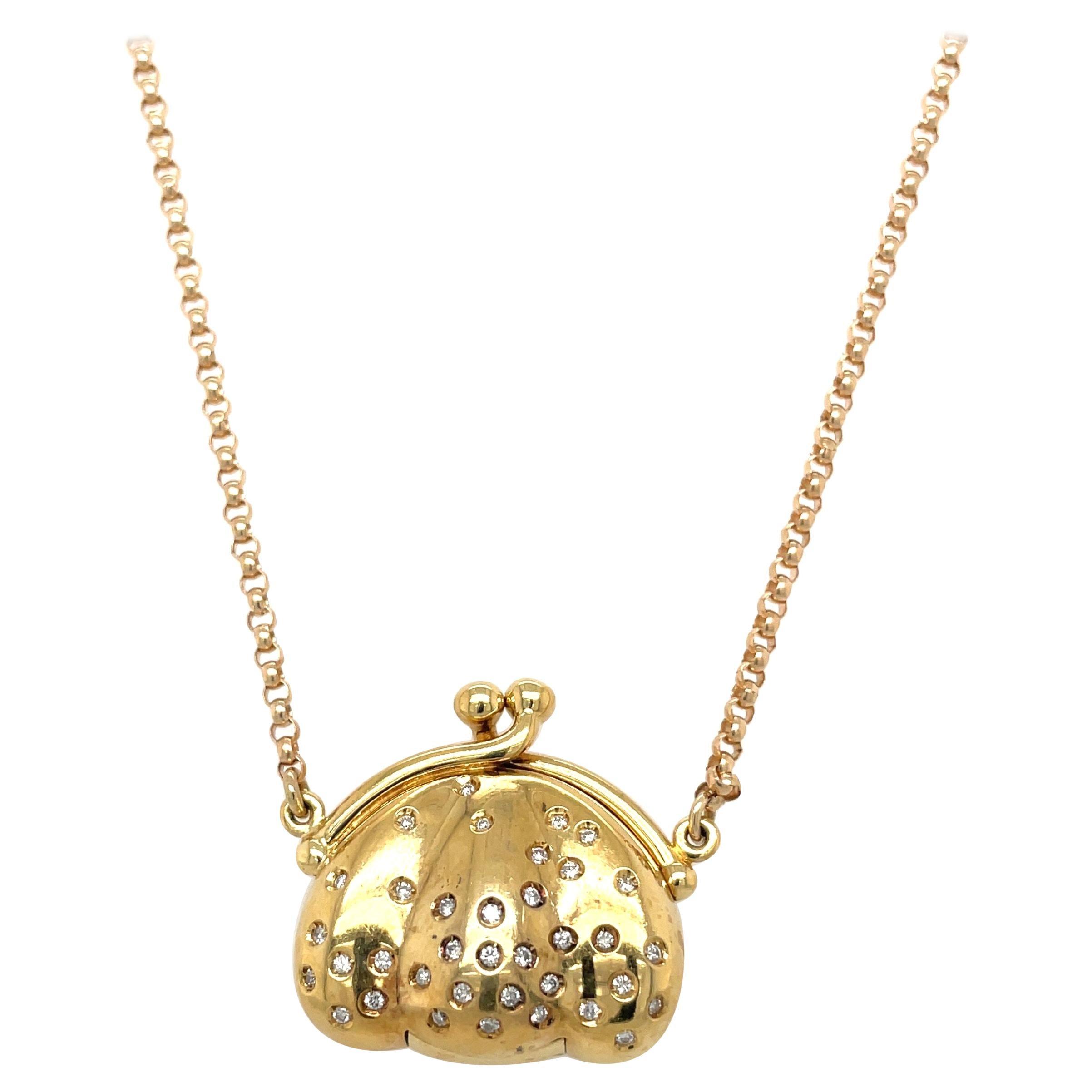 Stephan Hafner 18kt Yellow Gold, .20ct Diamond Pocketbook Pendant Necklace