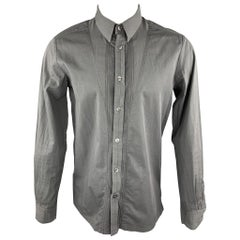 STEPHAN SCHNEIDER Size M Dark Gray Pleated Cotton Button Up Long Sleeve Shirt