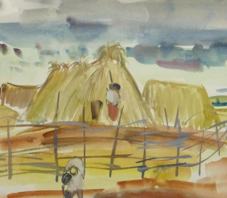 Watercolor Landscape - Scene of Workers and Family on a Farm - Painting by Stephane Magnard