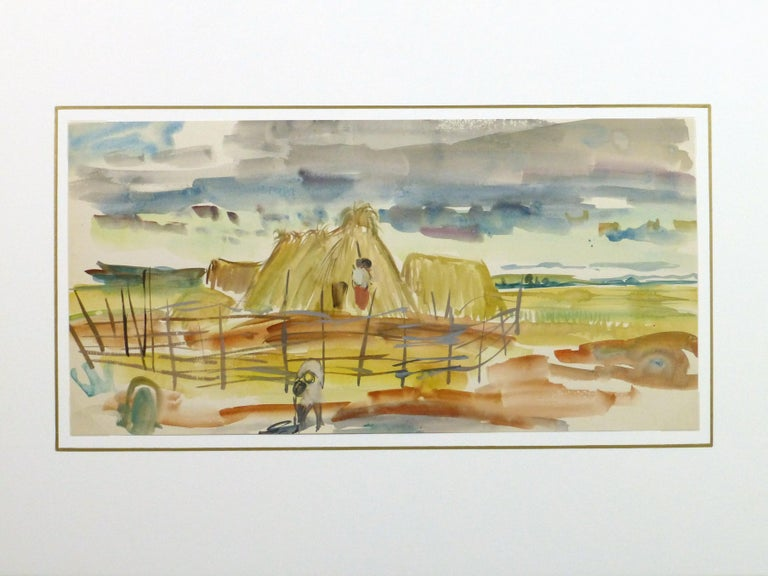 Watercolor Landscape - Scene of Workers and Family on a Farm - Brown Landscape Painting by Stephane Magnard