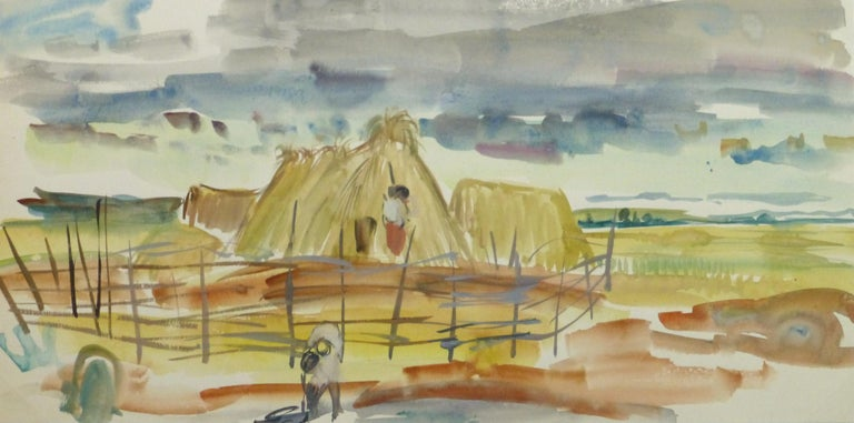 Stephane Magnard Landscape Painting - Watercolor Landscape - Scene of Workers and Family on a Farm