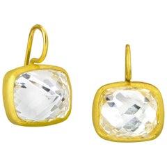 Stephanie Albertson 16.0 Carat White Topaz 22 Karat Gold Cocktail Earrings