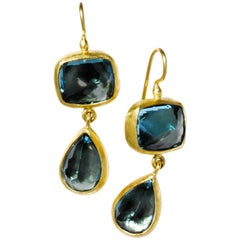 Stephanie Albertson 22 Karat Gold and London Blue Topaz Cocktail Drop Earrings