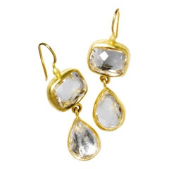 Stephanie Albertson 22 Karat Gold and White Topaz Cocktail Drop Earrings
