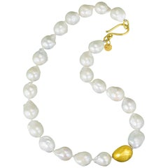 Stephanie Albertson Baroque fresh water pearl & 22K gold beaded nugget necklace