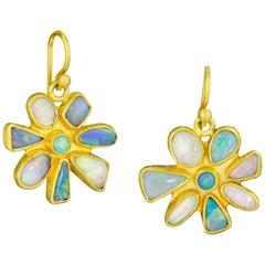 Stephanie Albertson Boulder Opal, 22 Karat Gold Blue Neutral Flower Earring
