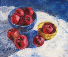 Apples in Blue Bowl, Painting, Oil on Canvas