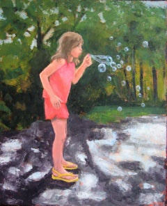 Blowing Bubbles, Painting, Oil on Canvas