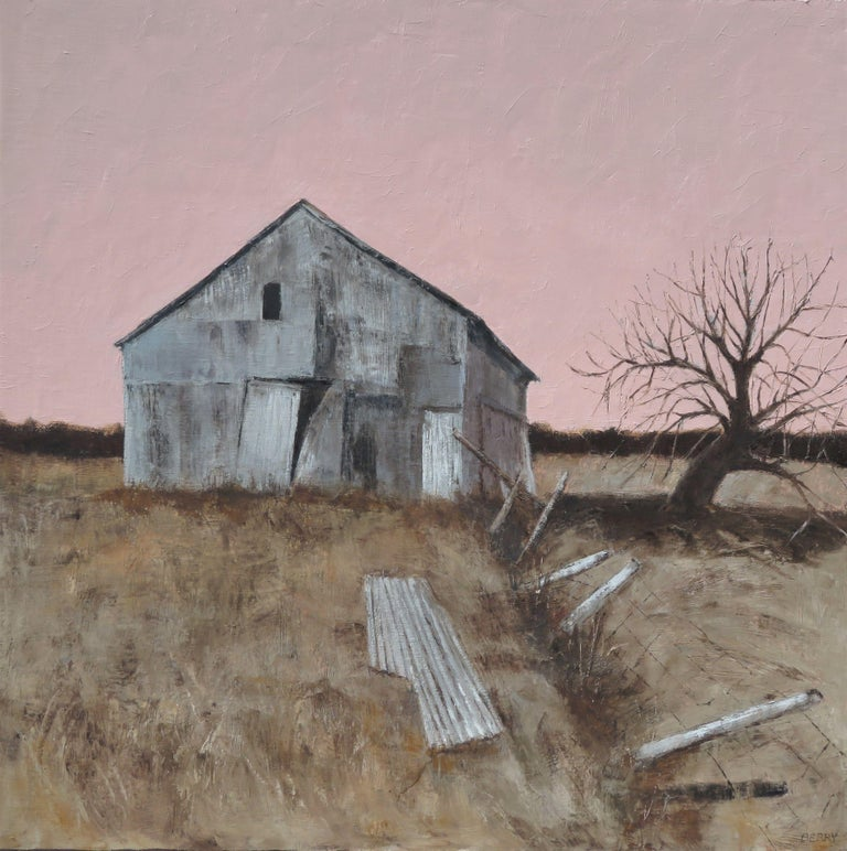 This old barn was used for many years to store hay and straw.  Now it sits empty and is slowly falling apart.  This was done with quality oil paints and cold wax on linen.  The edges are painted black and its ready to hang. :: Painting ::